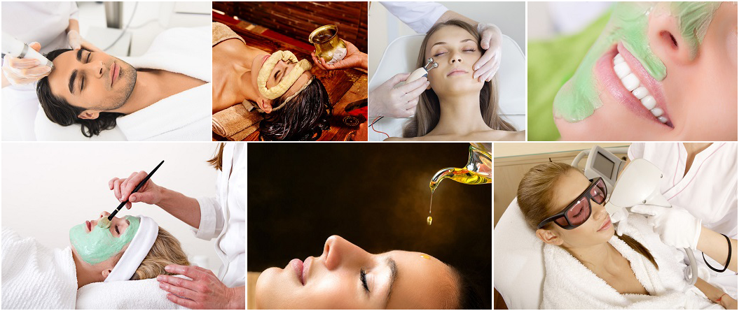 collage of men and women getting various facial procedures